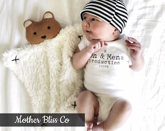 "Handmade, Personalized ""Production Of"" One Piece Bodysuit Baby Shower Gift 