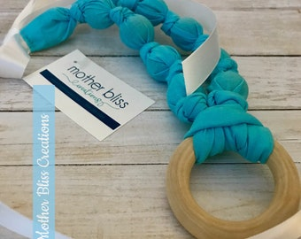 Bright and Blue Teething & Nursing Necklace | Breastfeeding | Organic Wood Teether |Wooden | Fabric Neckwear | Baby Shower|Nursing