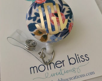 Rifle Paper Co - Rosa Floral | Fabric Interchangeable Badge Reel