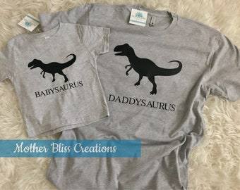 Daddy and Me T-shirt Set | Fathers Day | Dad Gift | Matching Set Dad Baby Kid | Dinossaur | Daddysaurus Babysaurus Family Shirt