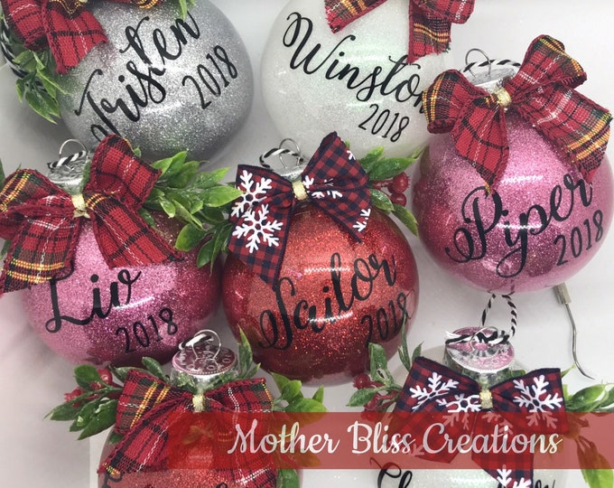Featured listing image: Personalized Christmas Ornament | Name Christmas Ornament | Glitter Ornament | Monogrammed Ornament | Unique gift