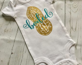 Handmade Personalized One Piece Bodysuit Keepsake Peanut Boiled Peanut - Boy or Girl - Baby Shower Gift