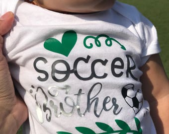 Handmade Personalized One Piece Bodysuit Keepsake Soccer Brother - Boy or Girl - Baby Shower Gift - Soccer Baby Family