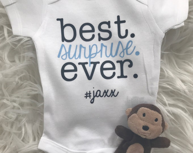 Featured listing image: Handmade Personalized Going Home Outfit  | Best Surprise Ever | Name Bodysuit | Miracle Baby | New Baby | Baby Shower + New Mom Gift | Hi He