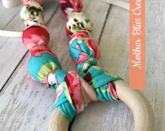 Love Bliss Cotton Teething & Nursing Necklace | Breastfeeding | Organic Wood Teether |Wooden | Fabric Neckwear | Baby Shower|Nursing | N