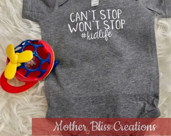Can't Stop Won't Stop Matching Mom and Baby Outift | Mommy and Me | Baby Bodysuit | Funny | Baby Shower | New Mom | New Baby