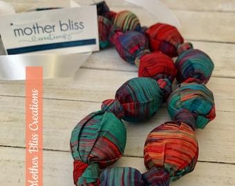Color Splash Nursing Necklace | Breastfeeding | Organic Wood | Fabric Neckwear | Baby Shower | Nursing