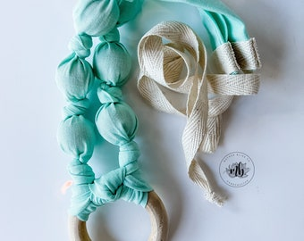 Mint Solid Cotton Fabric Bead Necklace | Great for Breastfeeding and Nursing | Organic Wood | Natural | Crunchy | Fabric Neckwear