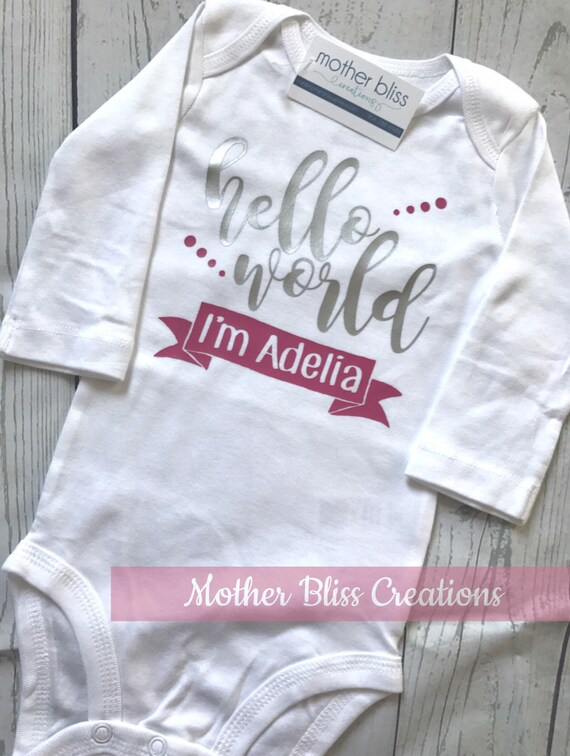 "Handmade, Personalized ""Hello World"" One Piece Bodysuit Baby Shower Gift | New Mom"