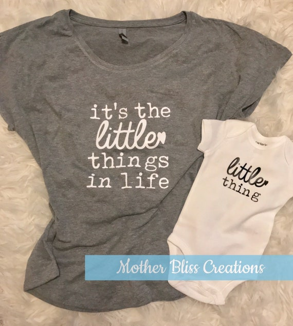 Mommy and Me Shirt and Bodysuit Set   It's The Little Things   Miracle Baby   New Baby   Baby Shower + New Mom Gift   Funny Baby