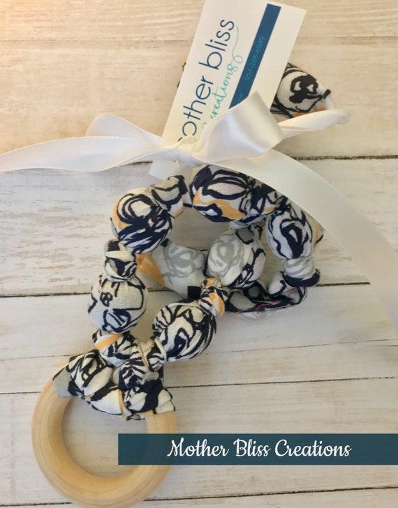 Modern Spring Teething & Nursing Necklace | Breastfeeding | Organic Wood Teether |Wooden | Fabric Neckwear | Baby Shower|Nursing