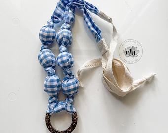 Buffalo Check Gingham Blue Fabric Necklace | Statement Jewelry or Nursing + Breastfeeding | Organic Wood | Fabric Neckwear