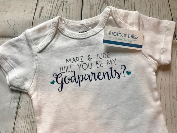 Handmade Personalized One Piece Bodysuit Will You Be My Godparents - Boy or Girl - Baptism - Godmother Godfather Baby