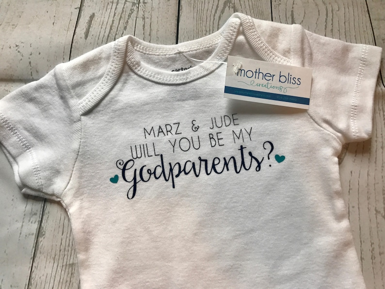 Godmother Godfather Baby Boy or Girl Handmade Personalized One Piece Bodysuit Will You Be My Godparents Baptism