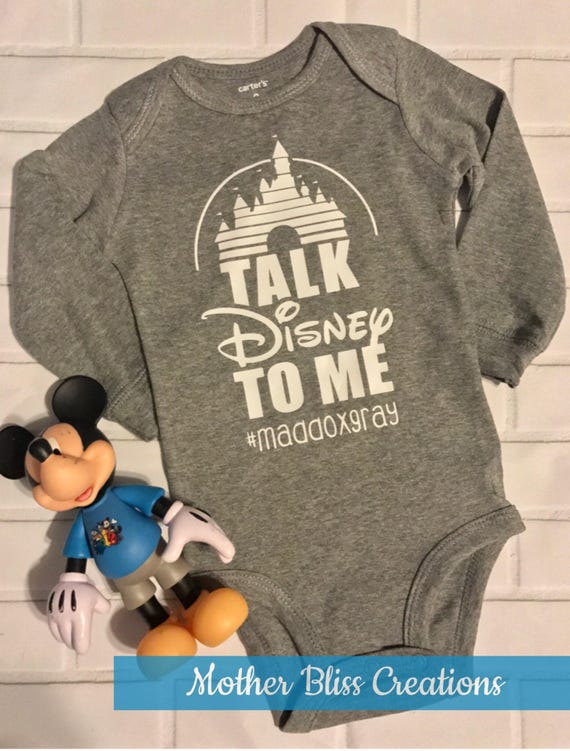 """Handmade, Personalized """"Talk Disney To Me"""" One Piece Bodysuit Baby Shower Gift   New Mom Gift   Gender Reveal   Mickey Mouse   Hashtag"""