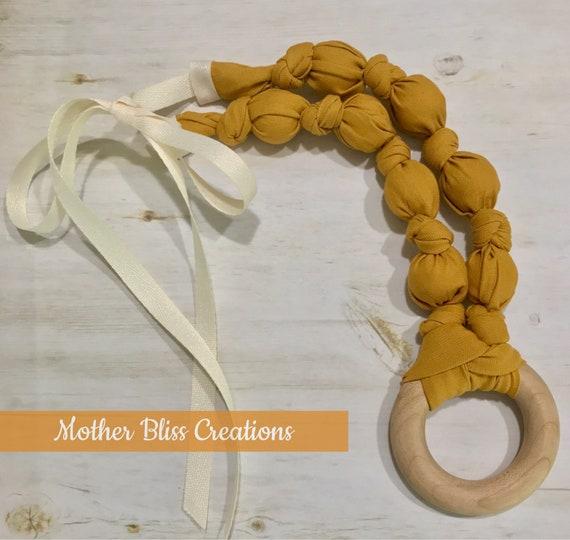 Golden Mustard Cotton Teething & Nursing Necklace | Breastfeeding | Organic Wood Teether |Wooden | Fabric Neckwear | Baby Shower|Nursing | N