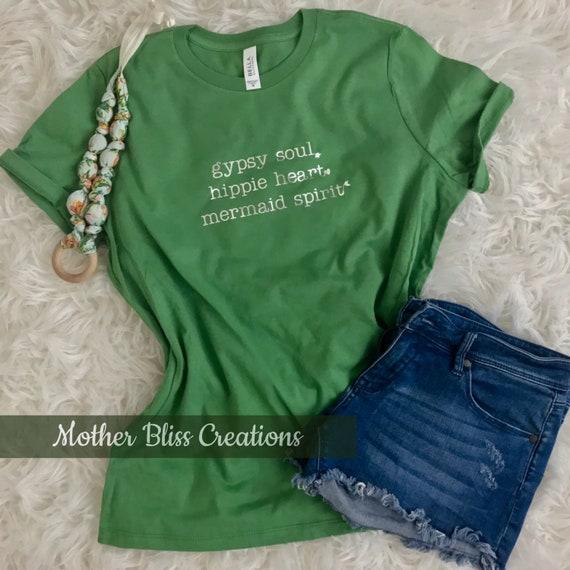 Gipsy Soul | Hippie Heart | Mermaid Spirit Tee | Motherhood Shirt | Hippie Shirt | Boho Chic Shirt