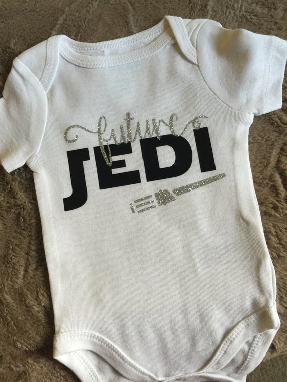 "Baby Handmade Bodysuit One Piece Bodysuit Personalized ""Future Jedi"" Star Wars Family Pregnancy Announcement"
