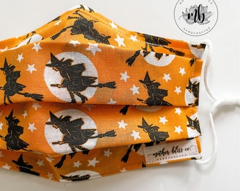 Halloween Inspired Witches Broom in Orange  | Handmade Fabric Mask with Pocket - Washable Mask With Insert - Reusable
