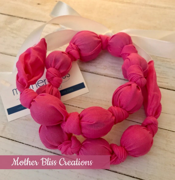 Pretty Pink Teething & Nursing Necklace | Breastfeeding | Organic Wood Teether |Wooden | Fabric Neckwear | Baby Shower|Nursing