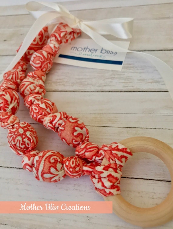 Coral Mandala Teething & Nursing Necklace | Breastfeeding | Organic Wood Teether |Wooden | Fabric Neckwear | Baby Shower|Nursing