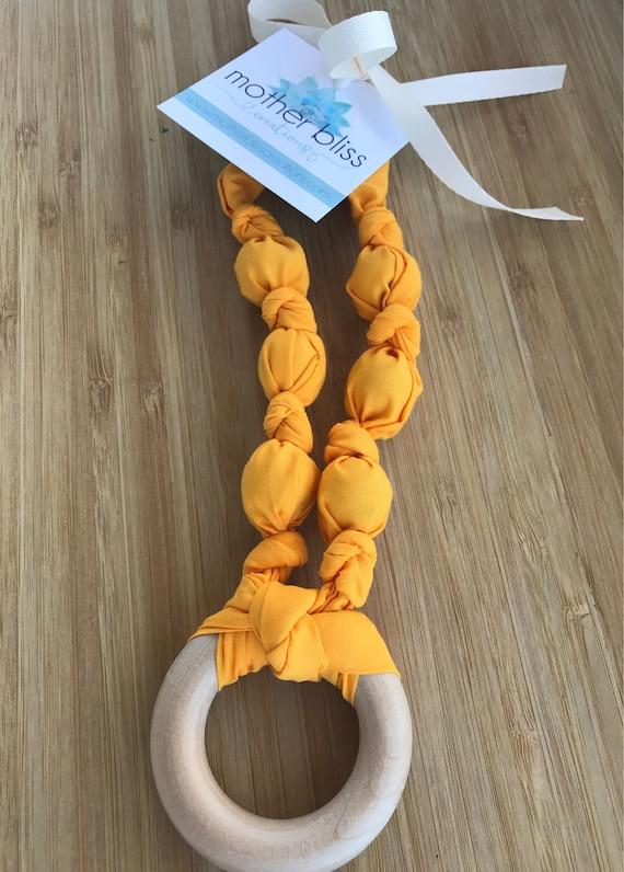 Sun Drop Cotton Teething Nursing Necklace | Breastfeeding | Organic Wood Teether | Wood | Natural | Crunchy | Fabric Neckwear |