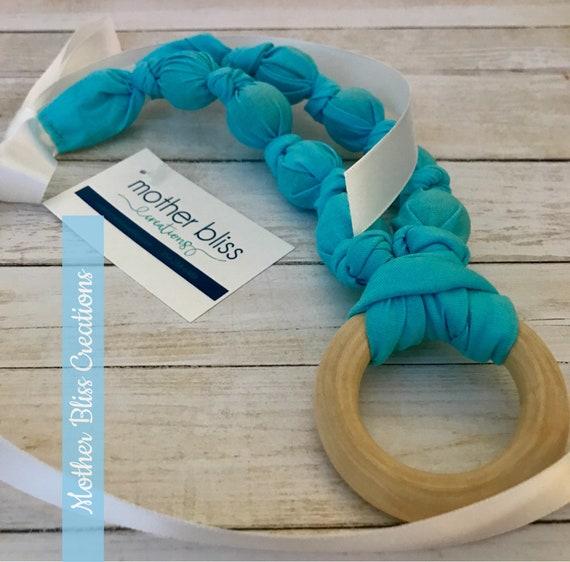 Bright and Blue Teething & Nursing Necklace | Breastfeeding | Organic Wood Teether |Wooden | Fabric Neckwear | Baby Shower|Nursing
