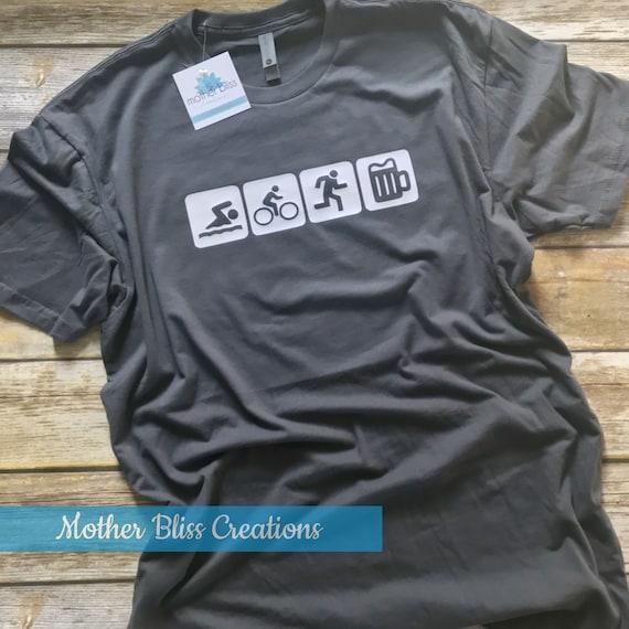 Triathlon Beer Lover Funny Shirt | Run Bike Swim Beer | Tri Tee | Triathlon Lover | Craft Beer