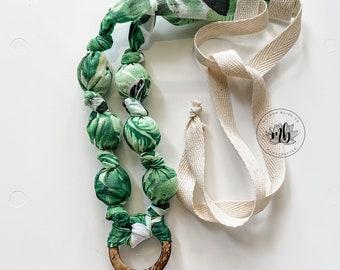 Palm Leaves Fabric Necklace | Statement Jewelry or Nursing + Breastfeeding | Organic Wood | Fabric Neckwear