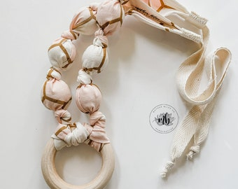 Blush Hex Rose Gold Cotton Fabric Bead Necklace | Great for Breastfeeding and Nursing | Organic Wood | Natural | Crunchy | Fabric Neckwear