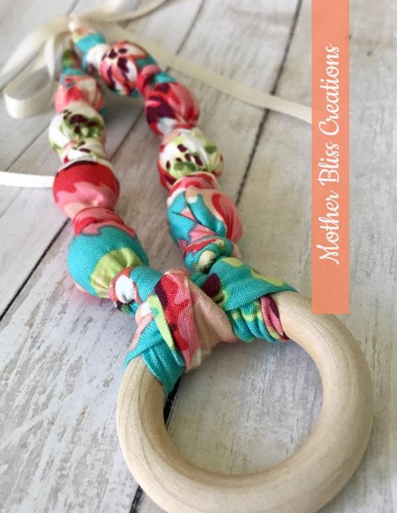 Love Bliss Cotton Teething & Nursing Necklace | Breastfeeding | Organic Wood Teether |Wooden | Fabric Neckwear | Baby Shower|Nursing | N