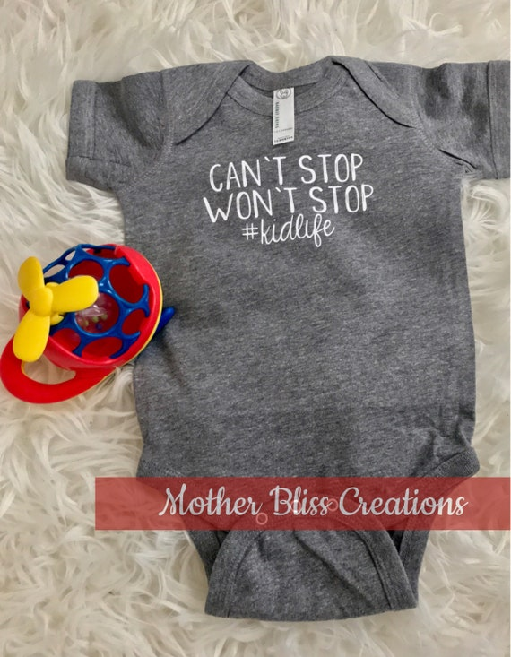 Can't Stop Won't Stop Matching Mom and Baby Outift   Mommy and Me   Baby Bodysuit   Funny   Baby Shower   New Mom   New Baby
