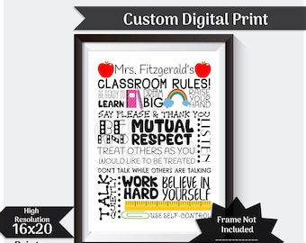 Personalized Classroom Rules Gift For Teacher Classroom Decoration Teacher Gift Teacher Appreciation Gift Personalized Teacher  Printable