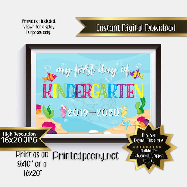 First Day of Kindergarten Printable Sign First Day of School Sign Kindergarten Photo Prop First Day Printable Instant Download