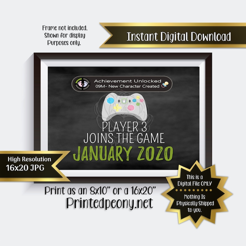 Player 3 Joins The Game Chalkboard Pregnancy Announcement Gamer Pregnancy Reveal Due January Baby Announcement Photo Prop Instant Download