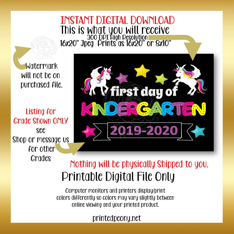 First Day of Kindergarten Printable Sign First Day of School Unicorns Kindergarten Photo Prop First Day Printable Instant Download