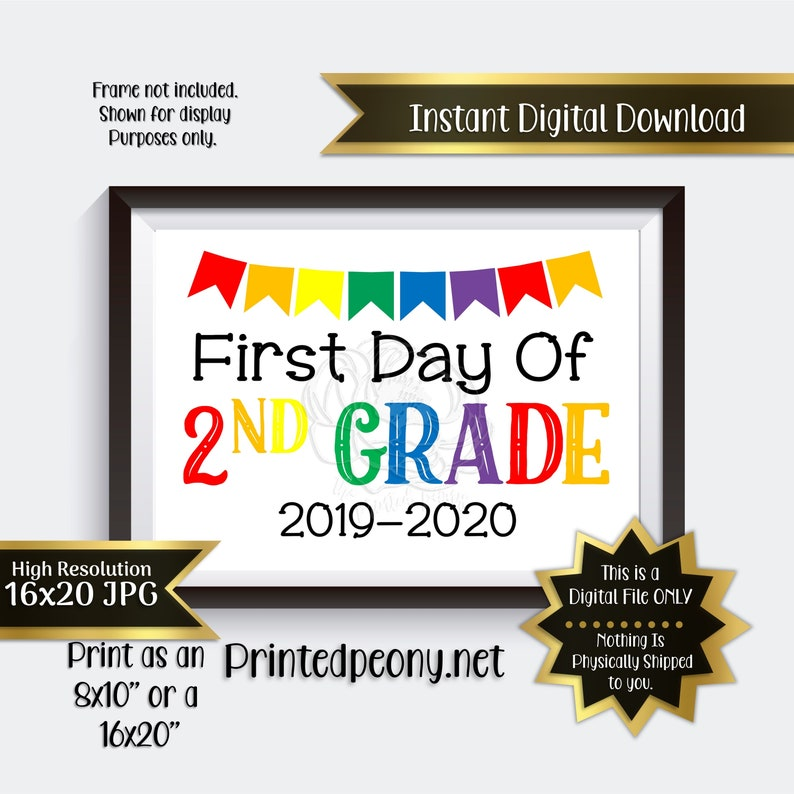 picture regarding First Day of 2nd Grade Printable Sign identified as Very first Working day of Minute Quality Printable Indication Initially Working day of Faculty Indicator 2nd Quality Picture Prop 1st Working day of Instant Quality Printable Quick Obtain