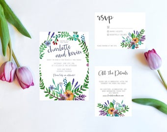 Wedding Invitation Suite, Wedding Invites, Printable Wedding Invitation Suite, Bright Floral Bridal Wedding Invitation