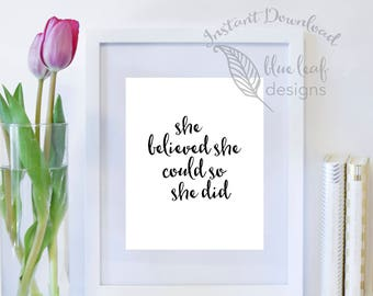 Printable Art, Printable Inspirational Quote, Quote Wall Art Print, Instant Download, Digital Download, Typography, Female Quote