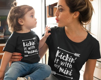 Kickin' it with my mini and mama   mommy and me   mommy and me outfit   mommy and me shirt   matching mommy daughter   Match Mommy and Son