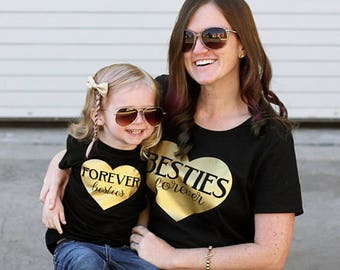 Besties forever   Mommy's bestie   Mommy and me   mommy and me outfit   mommy and me shirt   matching mommy daughter   Match Mommy and Son