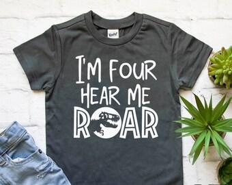 713f45eed I'm four hear me roar shirt | 4th birthday shirt | 4th dinosaur birthday | T -rex birthday party shirt | Four year old shirt | Roar shirt