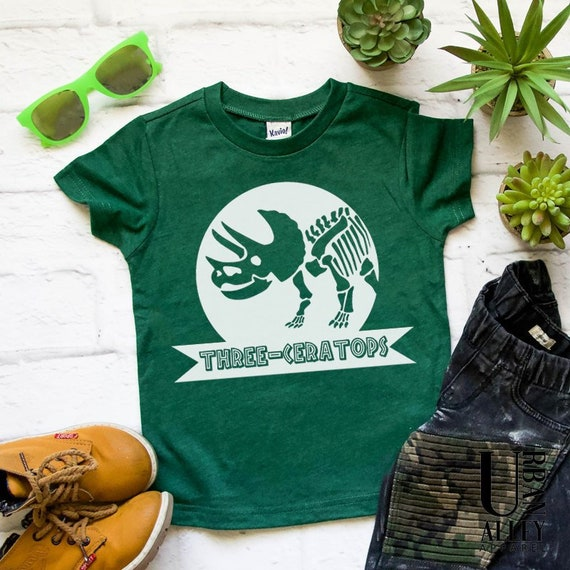 Three Ceratops Birthday Shirt 3rd 3 Year Old