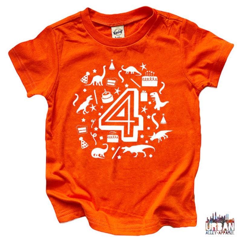 Four Year Old Birthday Shirt Dinosaur Tee Age