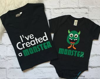 I've Created A Monster Set   mommy and me   mommy and me outfit   Matching mommy   Mommy and me shirts   Mommy and son   Mommy and daughter