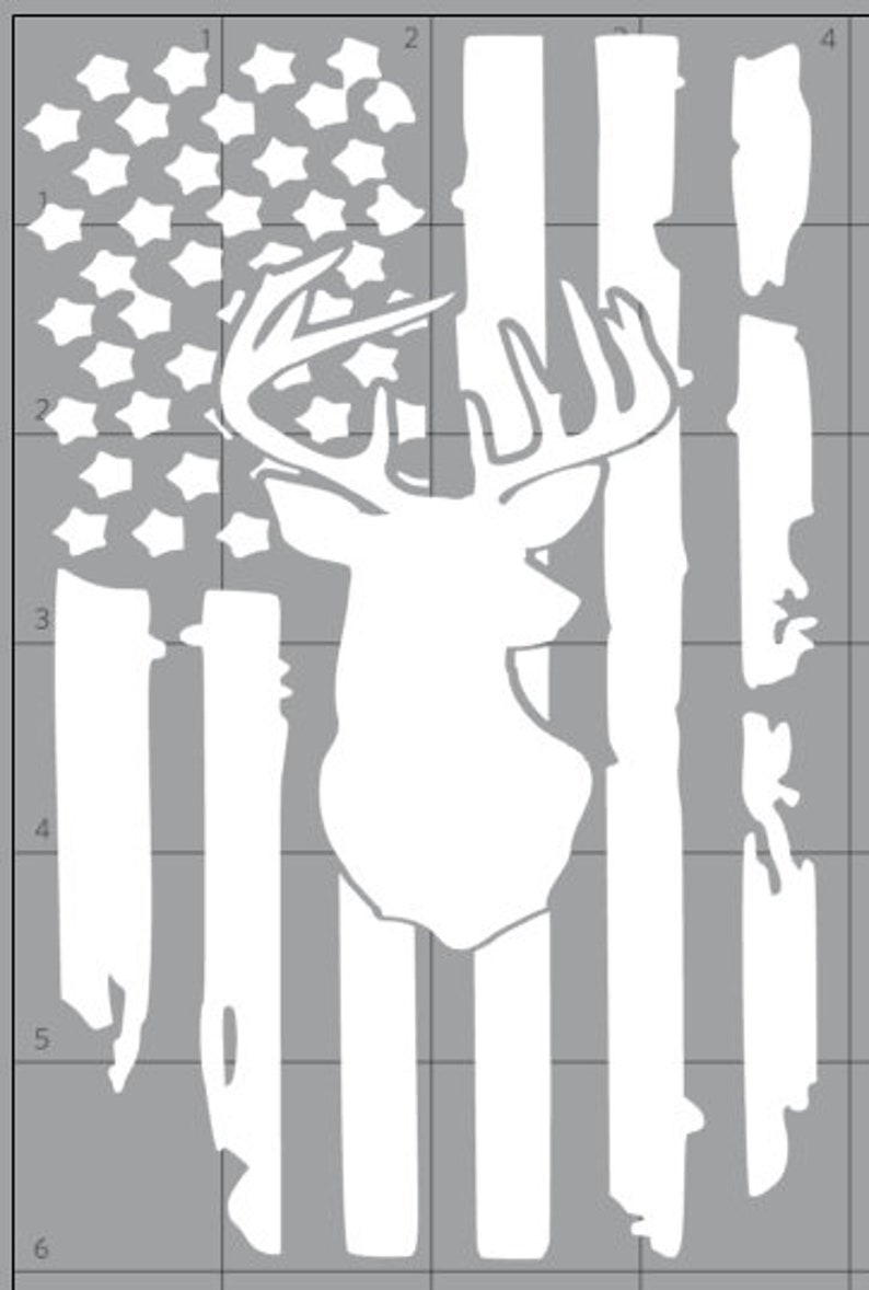 13a8106e540 Deer flag decal American flag car decal Deer decal