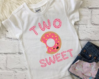 Two sweet shirt | Donut shirt | Two year old birthday | Sweets birthday | Donut birthday | 2nd birthday | Custom birthday shirt | Donut bday