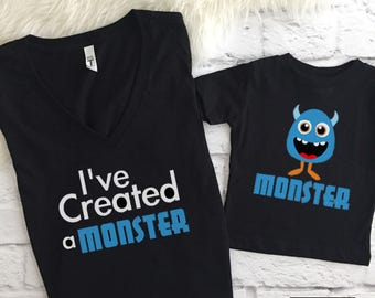 I've Created A Monster Set   mommy and me   mommy and me outfit   Matching mommy and son   Mommy and me shirts   Mommy and son   Mom and son