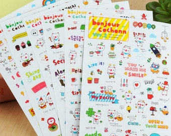 Pig Stickers / Cute Pig Stickers / Planner Stickers / Calendar Stickers / Korean Stickers / Diary Stickers / Scrapbooking / Kawaii Stickers