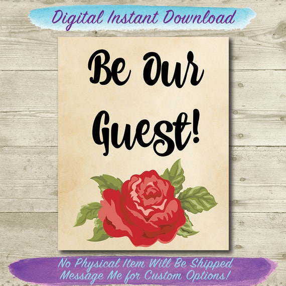 photograph about Be Our Guest Printable titled Be Our Visitor Printable // Attractiveness and the Beast Property Decor